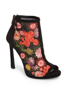 Jessica Simpson Pascall Embroidered Peep Toe Bootie (Women)