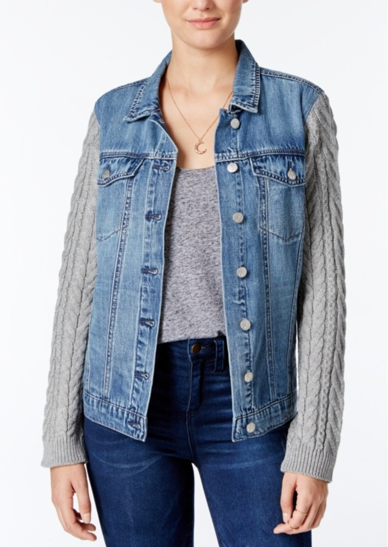 Jessica Simpson Peri Knit-Sleeve Denim Jacket