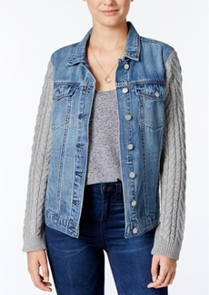 Jessica Simpson Peri Knit-Sleeve Denim Jacket