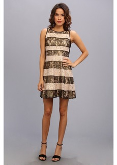 Jessica Simpson Pieced Lace Circle Skirt Dress with Rib Knit Back