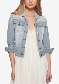 Jessica Simpson Pixie Railroad-Stripe Denim Jacket, Only at Macy's