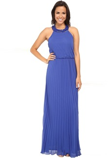 Jessica Simpson Pleated Chiffon Gown w/ T-Back