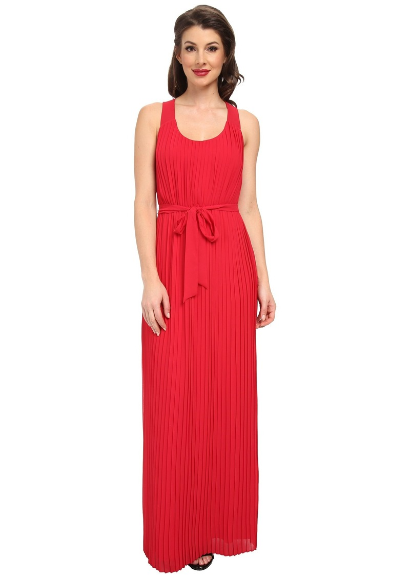 Jessica Simpson Pleated Chiffon Maxi with Cross Back