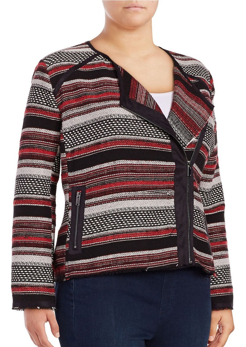 JESSICA SIMPSON PLUS Asymmetrical Block Striped Moto Jacket