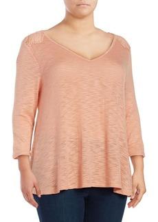 Jessica Simpson Plus Crocheted-Back Top