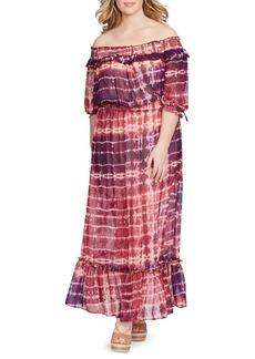 Jessica Simpson Plus Dahlia Off-The-Shoulder Maxi Dress