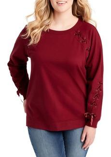 Jessica Simpson Plus Kiana Lace-Up Sweatshirt