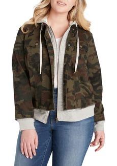 Jessica Simpson Plus Peony Camo Hoodie Jacket