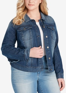 Jessica Simpson Plus Size Peony Ruffled Denim Jacket