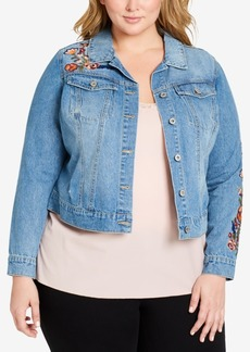 Jessica Simpson Plus Size Pixie Embroidered Denim Jacket