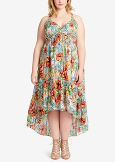 Jessica Simpson Plus Size Printed Flounce-Hem Midi Dress