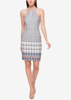 Jessica Simpson Printed Chain-Neck Halter Dress