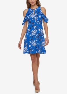 Jessica Simpson Printed Cold-Shoulder Dress