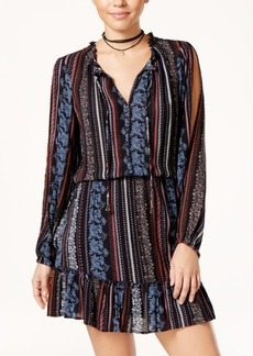 Jessica Simpson Printed Cold-Shoulder Peasant Dress