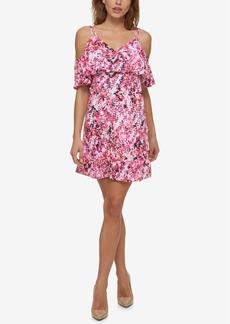 Jessica Simpson Printed Cold-Shoulder Popover Dress