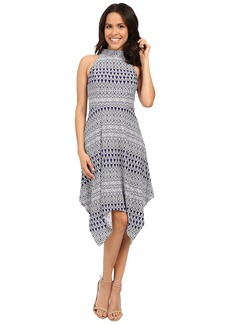 Jessica Simpson Printed Hanky Hem Dress with Mock Neck JS6D8705