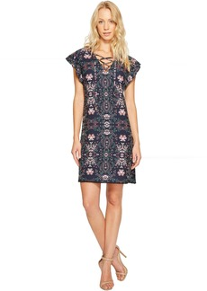 Jessica Simpson Printed Lace-Up Dress JS7A9420
