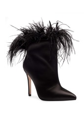 Jessica Simpson Prixey Feather Trim Pointed Toe Bootie (Women)