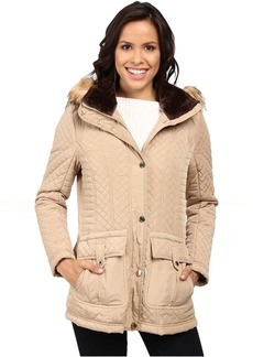 Jessica Simpson Quilted Anorak w/ Removable Hood and Faux Fur
