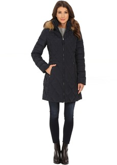 Jessica Simpson Quilted Down with Faux Fur Trimmed Hood