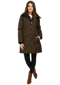 Jessica Simpson Quilted Fill Puffer with Hood and Fleece Bib
