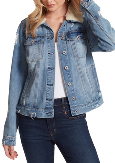Jessica Simpson Reagan Sherpa-Collar Denim Jacket