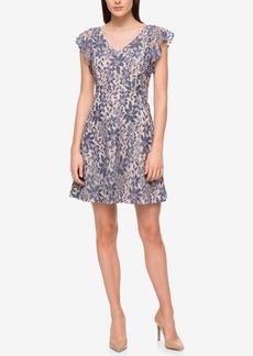 Jessica Simpson Ruffle-Sleeve Denim Lace Fit & Flare Dress
