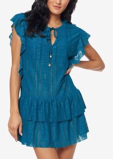 Jessica Simpson Crochet Waist-Frill Ruffle Detail Tunic Cover-Up Women's Swimsuit