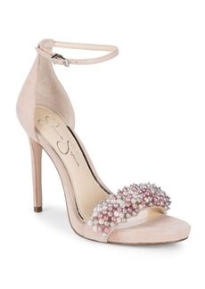 Jessica Simpson Rusley Embellished Suede Stiletto Sandals