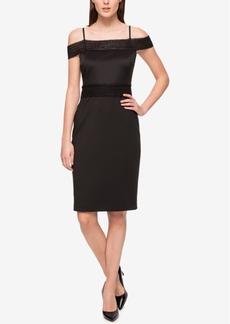 Jessica Simpson Scuba Cold-Shoulder Sheath Dress