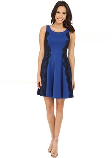 Scuba Fit and Flare Dress with Lace