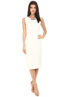 Jessica Simpson Scuba Midi Dress with Embellished Neck Trim
