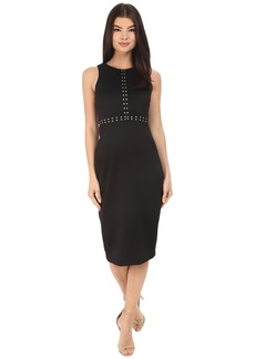 Jessica Simpson Scuba Midi Dress with Gold Detail