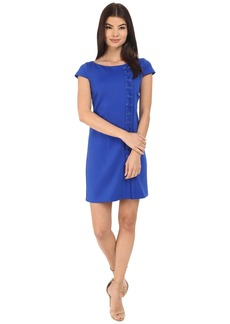 Jessica Simpson Short Sleeve Scuba Dress with Lace-Up Detail