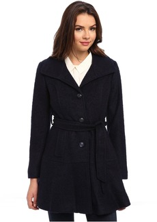 Jessica Simpson Single Breasted Boucle Coat with Belt