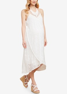 Jessica Simpson Sleeveless Crochet Maternity Midi Dress