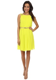 Jessica Simpson Sleeveless Pleated Dress w/ Deep V Back