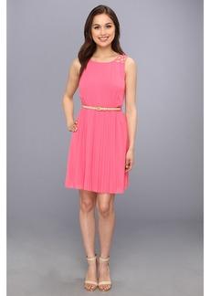 Jessica Simpson Sleeveless Pleated Dress With Deep V Back