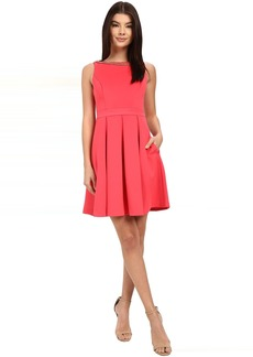 Jessica Simpson Solid Bow Back Dress with Neck Trim