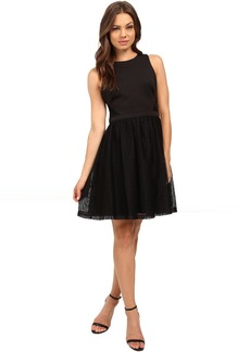 Jessica Simpson Solid Fit & Flare Dress with Lace Skirt JS6D8661
