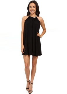 Jessica Simpson Solid Ity Dress with Gold Chain Necklace JS6D8545