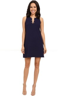 Jessica Simpson Solid Scuba Dress with Grommet Chain Detail JS6D8719