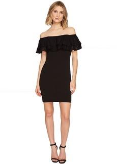 Jessica Simpson Solid Scuba Ruffle Off the Shoulder Dress