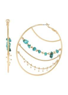 "Jessica Simpson Stone Chain Hoop Earrings, 2.75"""