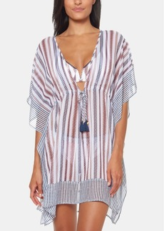Jessica Simpson Striped Chiffon Border Cover-Up with Tassels Women's Swimsuit