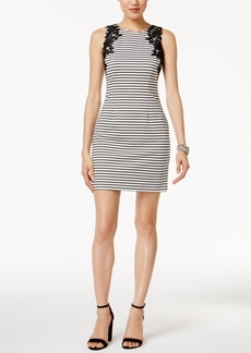 Jessica Simpson Striped Lace-Applique Sheath Dress