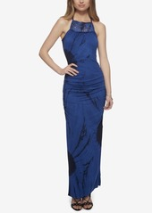 Jessica Simpson Tessanne Border-Print Crochet-Trim Maxi Dress