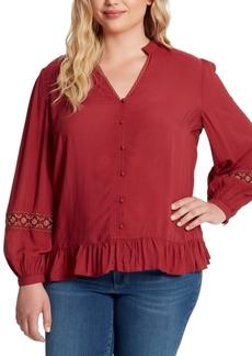 Jessica Simpson Trendy Plus Size Arya Embroidered Top