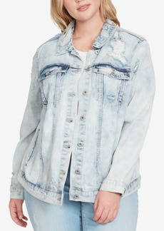 Jessica Simpson Trendy Plus Size Bleached Distressed Denim Jacket