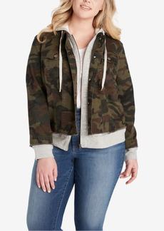 Jessica Simpson Trendy Plus Size Camo-Print Hoodie Jacket